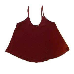 Lush burgundy maroon wine colored flowy tank top